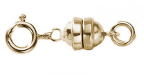 Magnetic clasp with spring ring, silver 925/gold plated