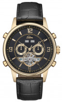 SELVA Automatic watch with open heart, golden plated/ black