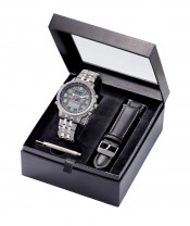 Radio controlled solar watch Ø 48mm, changeable leatherstrap