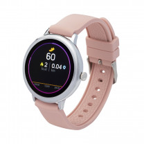 Fitness tracker / smartwatch with interchangeable wristband pink / gray