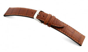 Leather strap Tampa 12mm cognac with alligator imprint