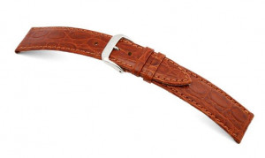 Leather strap Bahia 8mm cognac with crocodile leather imprinting