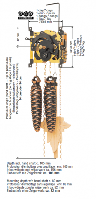 Cuckoo Movement SBS 25, 1-day, wooden pendulum 24cm, pinecone weights, chain, Gong spring