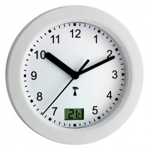 TFA bathroom clock, radio clock, temperature display