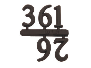 Number set 3-6-9-12, plastic 15mm, black, Arabic numerals