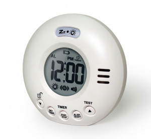 Alarm clock for deep sleeping people, extra loud, white