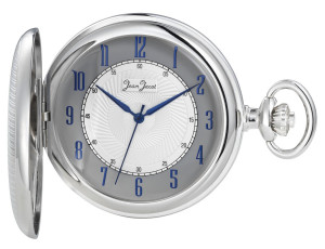 Jean Jacot Pocket watch chromed with bluish hands