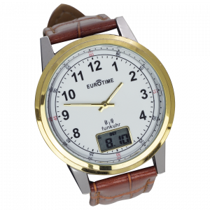 Radio controlled watch bicolor with crocodile embossing
