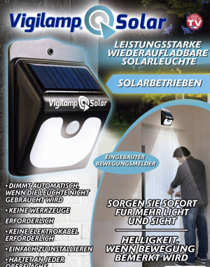 Solar lamp with integrated movement sensor