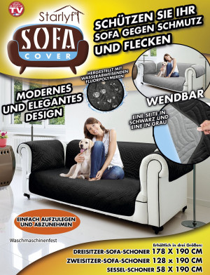 Sofa cover - protection against dirt and stains - black for 2-seater