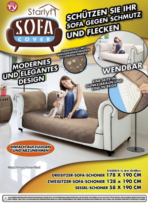 Sofa cover - protection against dirt and stains - brown for 2-seater