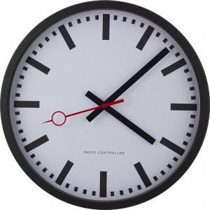 Radio-controlled wall clock station style, black