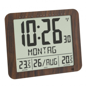 TFA radio-controlled wall clock / table clock with outside and inside temperature