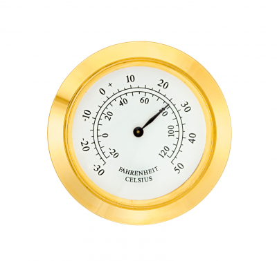Mini Insert Movements MP Drum Ø 40.5mm, bezel Ø 45mm yellow, dial white-antique, thermometer
