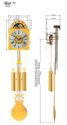 SU Hermle Grandfather Clock Movement, 7-days, Pendulum length 114 cm, with switching chime mouvement