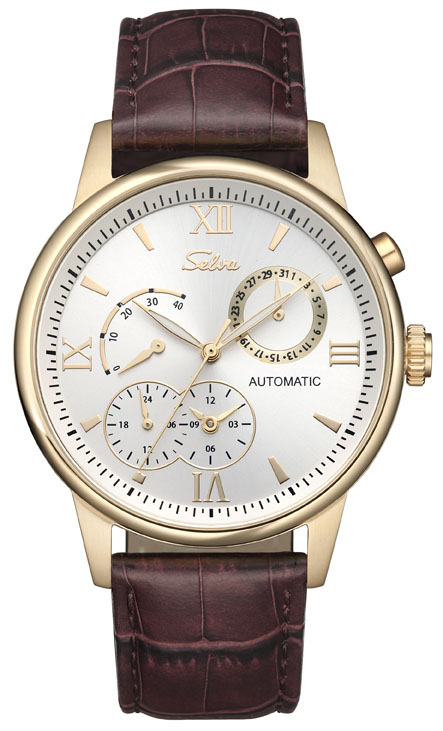 SELVA Automatic watch with power indicator, golden plated/ dark-brown