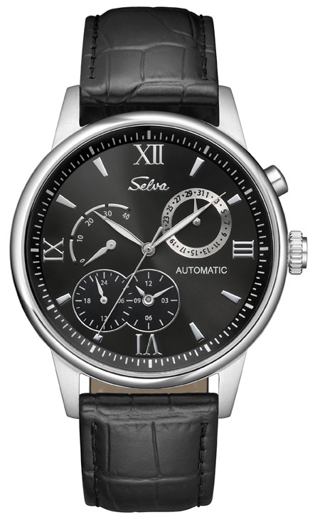 SELVA Automatic watch with power indicator, silver/ black