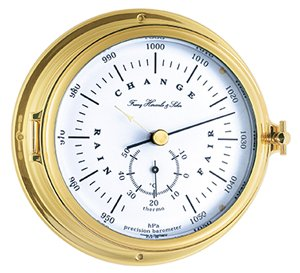 Hermle Barometer and thermometer, brass