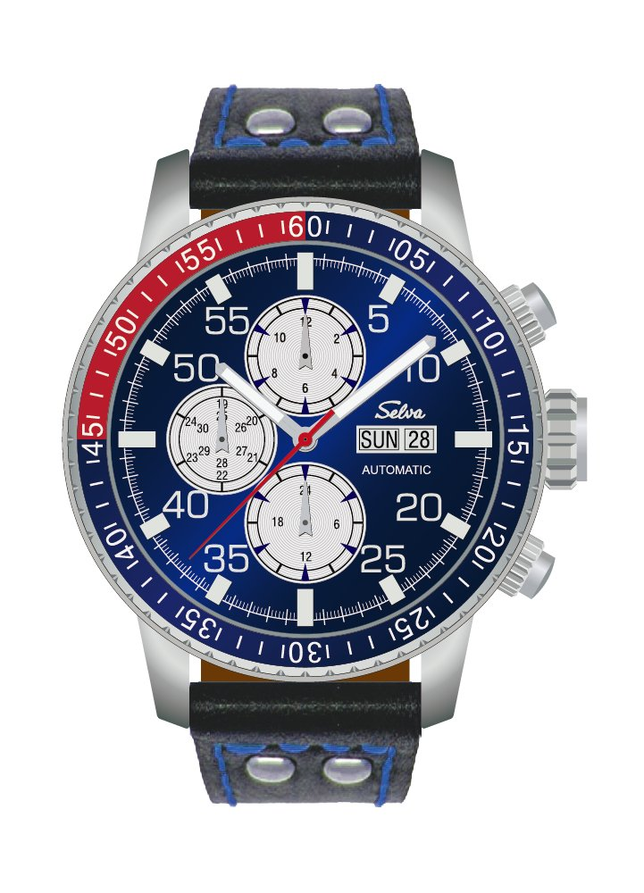 SELVA Men's Watch »Carlos« - blue dial - with mesh strap