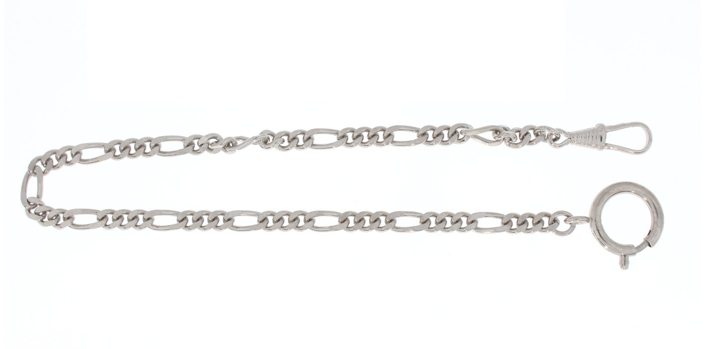 Pocket watch chain Figaro curb chain flat, brass nickeled