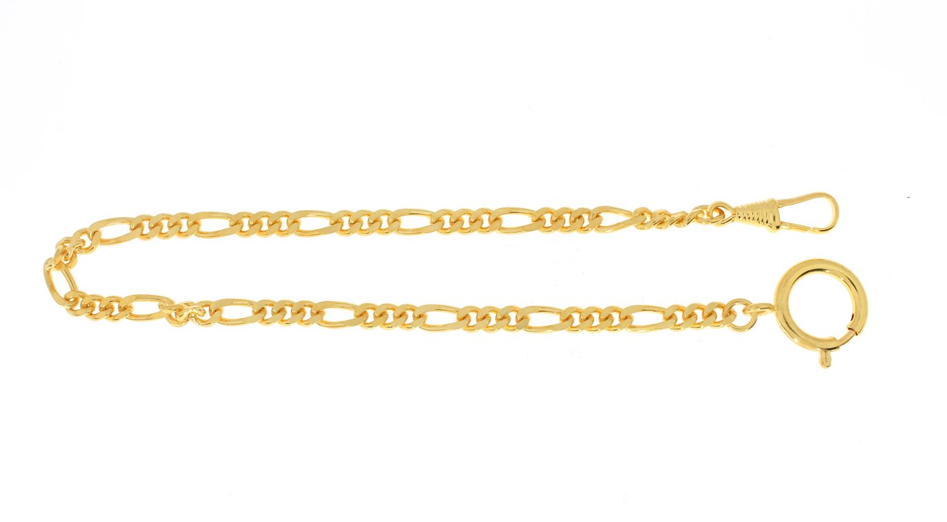 Pocket watch chain Figaro curb chain flat, brass gilded
