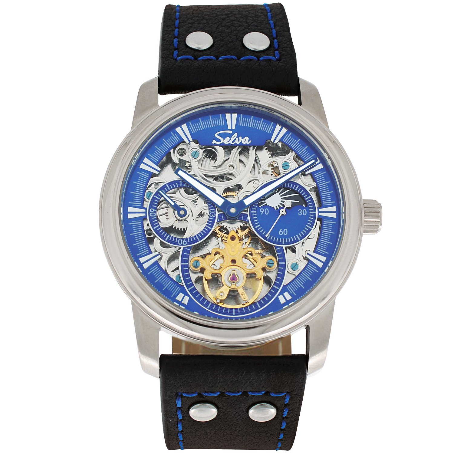 SELVA Men's Watch »Ramon« -sun/moon - skeletonized - Blue-Motion